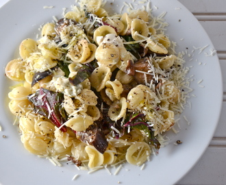 Pasta With Swiss Chard, Eggplant, And Mushrooms. New Music From Ben Lorentzen.