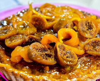 Gluten Free Banana Frangipan Tart topped with succulent dried fruits