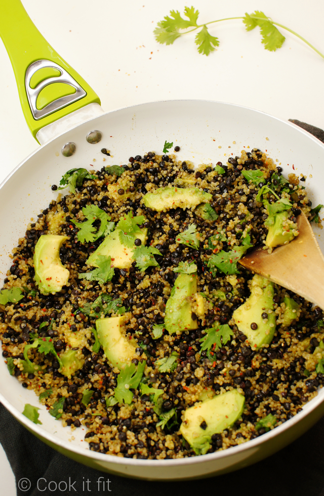 Black Lentil Quinoa Salad with Avocado