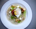 Poached Egg atop bed of Leek and Artichoke Cream