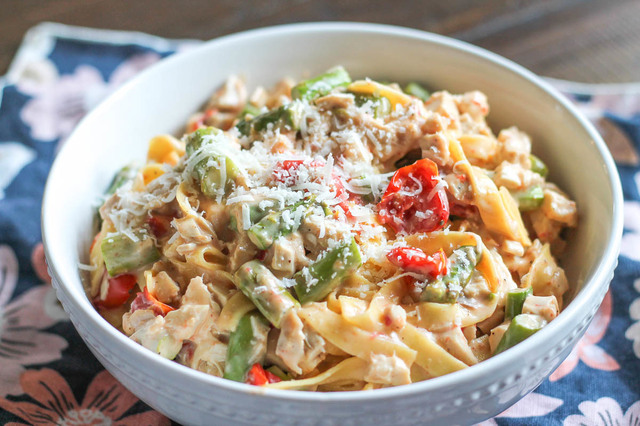 Roasted Vegetable and Chicken Pasta with a Garlic Goat Cheese Sauce
