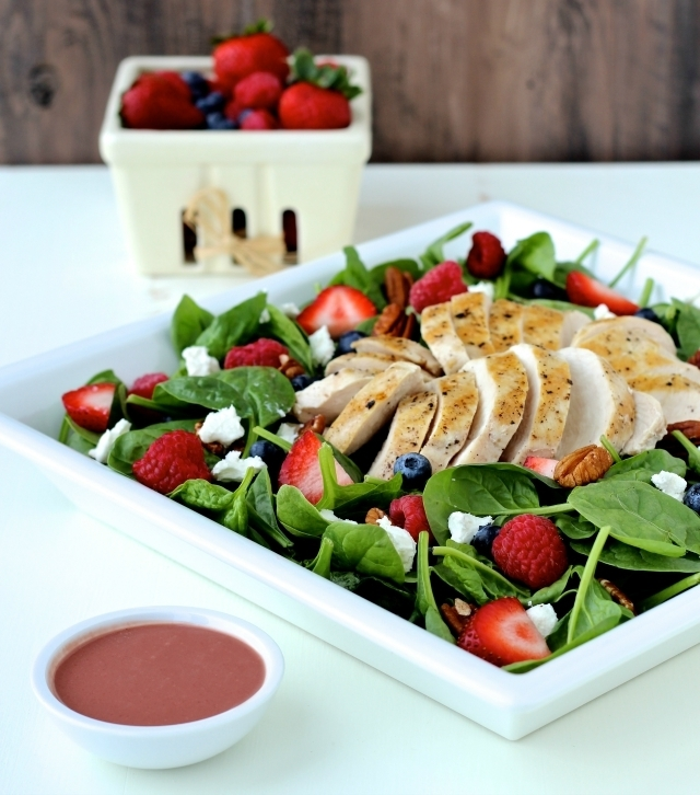 Dining with the Doc: Summer Spinach Salad with Grilled Chicken and Creamy Berry Balsamic Dressing