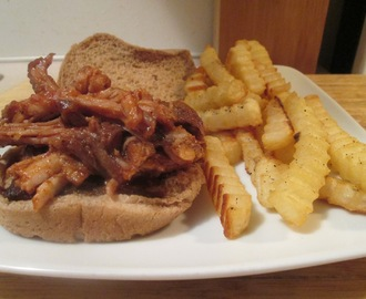Crock Pot BBQ Pork Shoulder Sandwiches w/ Baked Crinkle Fries