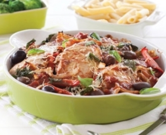 Tuscan-style chicken baked with tomatoes and olives