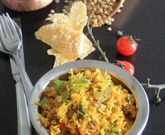 Masoor Pulav - Veg Red Lentil Pilaf - One pot meal - Rice recipes