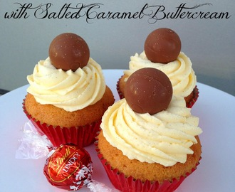 Lindt Lindor Cupcakes with Salted Caramel Buttercream