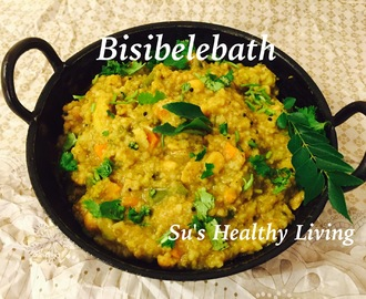 Bisibelebath ( Rice,lentils and vegetables cooked together and seasoned with spices in a tamarind sauce); Diabetes Friendly Thursday.