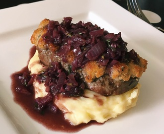 Blue Cheese Crusted Filet Mignon with Cabernet Reduction