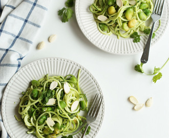 Vegan Zoodles Recipe | Zucchini/Courgette Noodles with Almond, Cashew and Cilantro Pesto Recipe with OXO Good Grip Spiralizer Product Review and A Giveaway