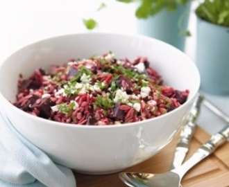 Beetroot, orzo and feta salad
