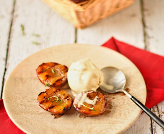 griddled plums with thyme, orange and vanilla ice cream