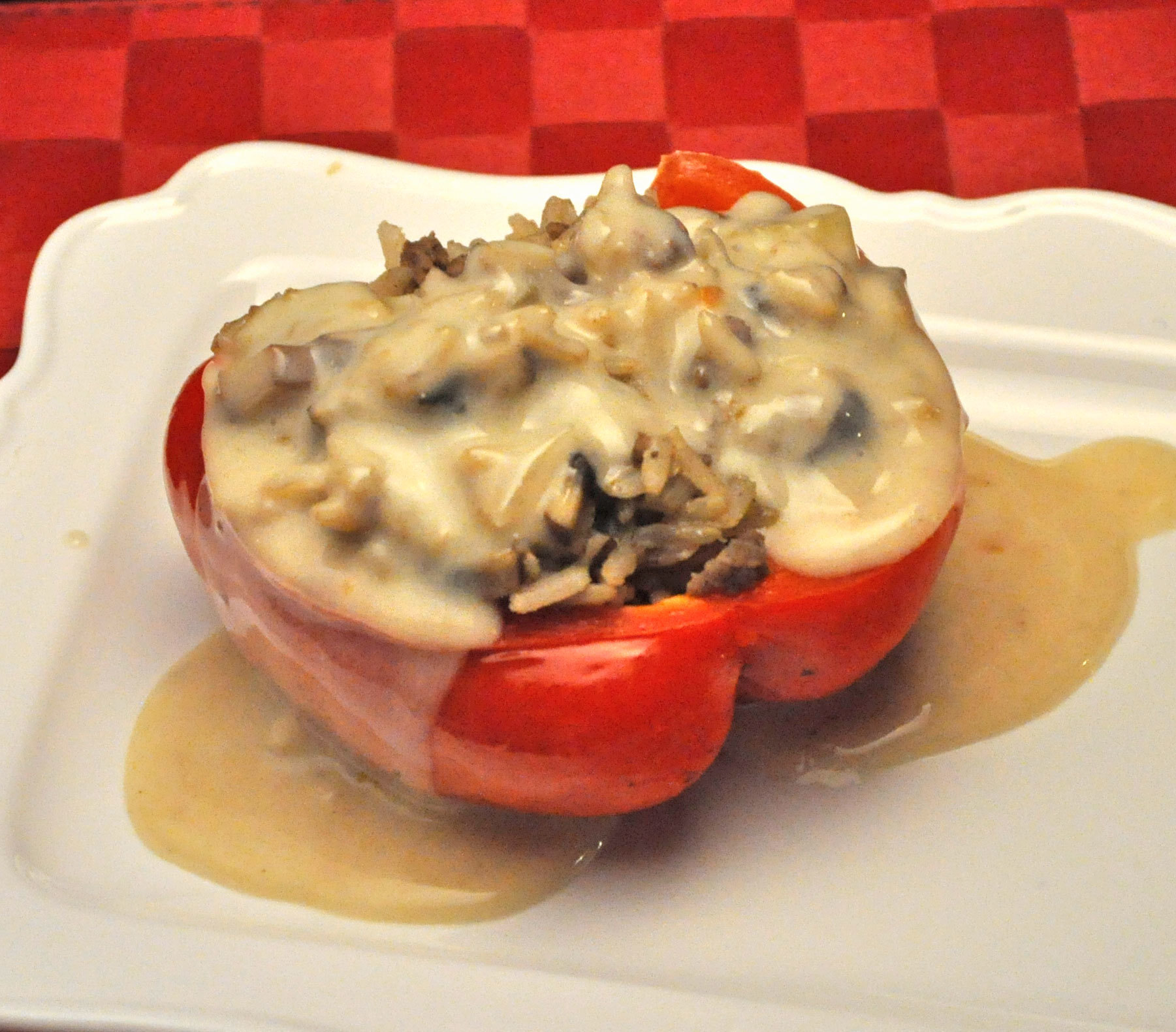 Beef Stroganoff Stuffed Peppers;  Dogs 1, Bunnies 0
