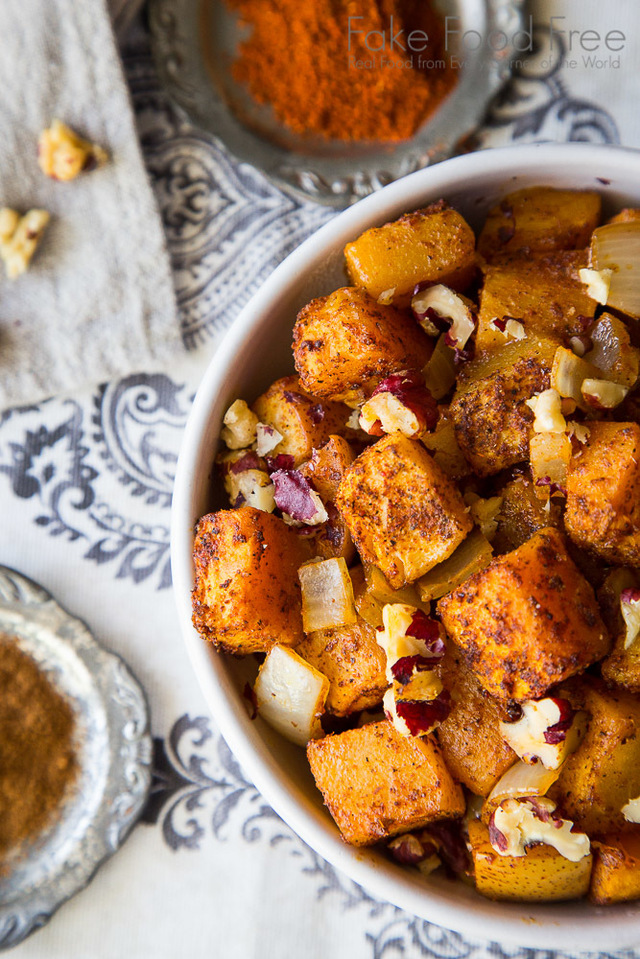 Roasted Butternut Squash with Pear and Red Walnuts