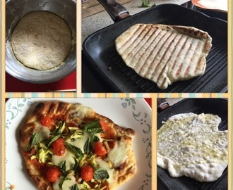 Grilled flatbread homemade pizza