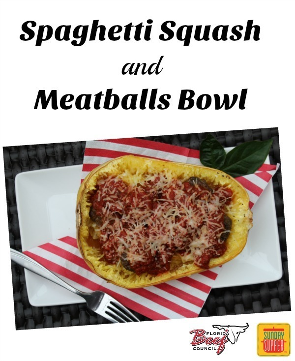 Spaghetti Squash and Meatballs Bowl #SundaySupper