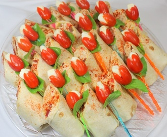 Million Dollar Catering Platter  Chicken Salad Wraps and Caprese Salad on a Stick
