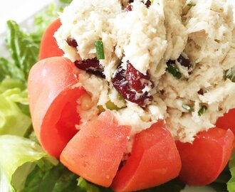 Healthified Chicken Salad Stuffed Tomato