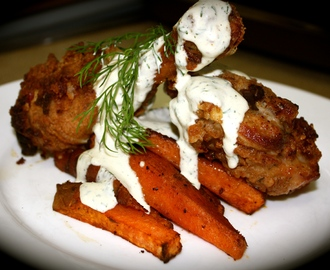 Southern Fried Chicken with Ranch and Spicy Sweet Potato Wedges