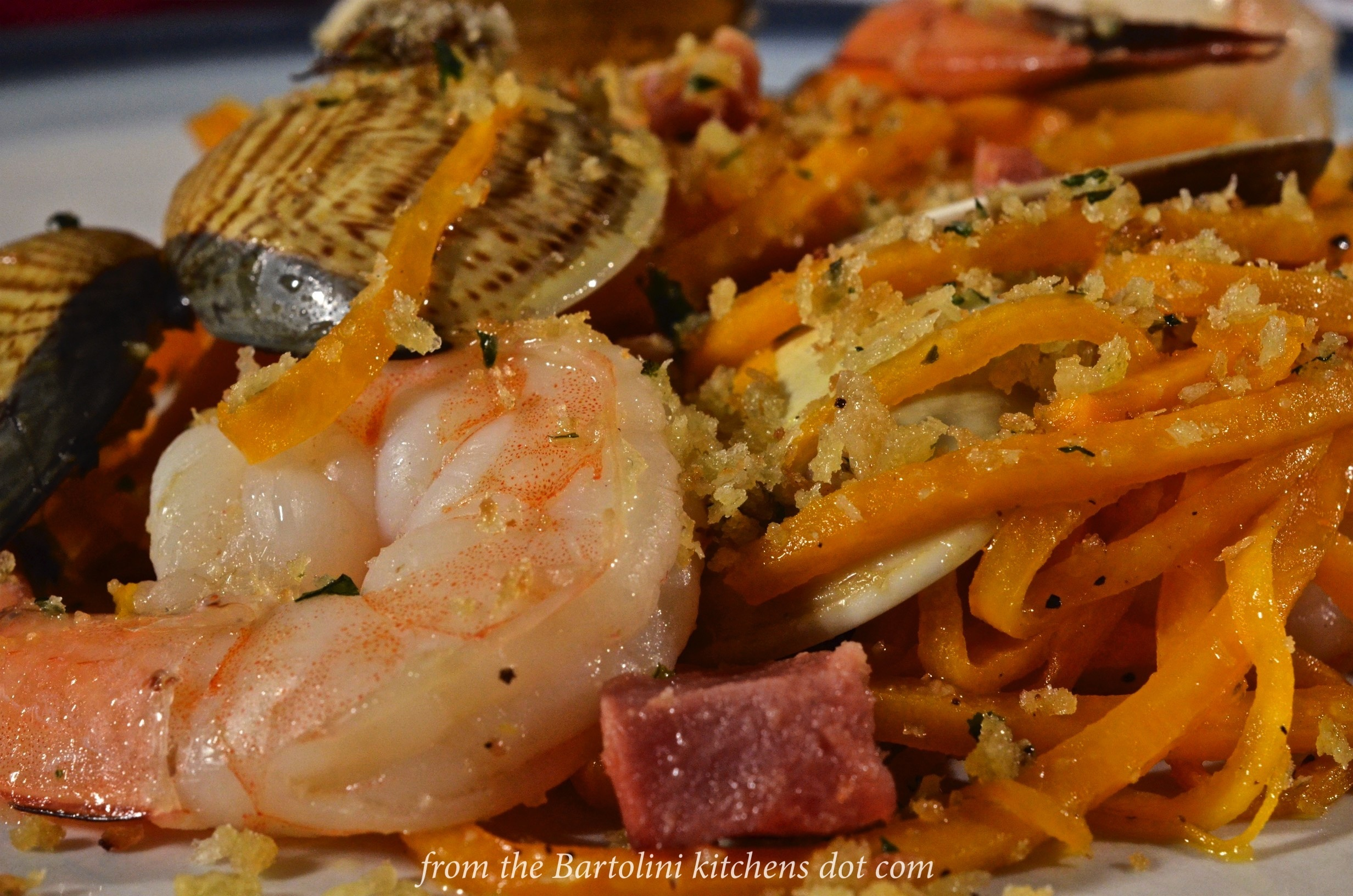 "The Spiralizer Chronicles, Chapter 2: Butternut Squash ""Noodles"" with Pancetta, Clams and Shrimp"