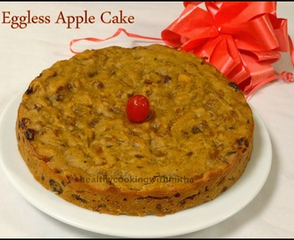 Eggless Apple Cake {Whole Wheat & Sugarless}