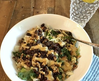 Black Bean Kale and Cabbage Salad with Creamy Honey Mustard Dressing