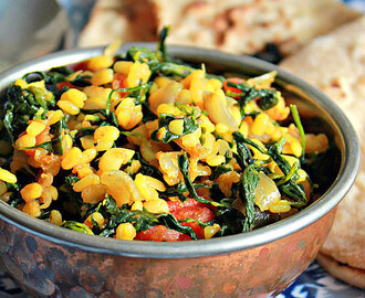 Methi Moong Dal Sabzi, Fenugreek Leaves With Lentils
