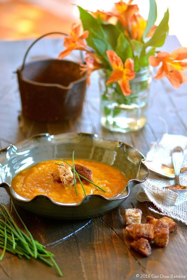 Caramelized Butternut Squash & Apple Bisque with Cinnamon Croutons
