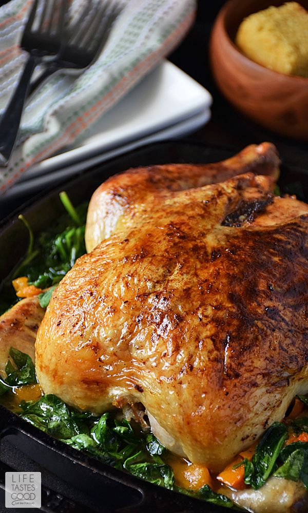 Whole Roasted Chicken with Vegetables #SundaySupper