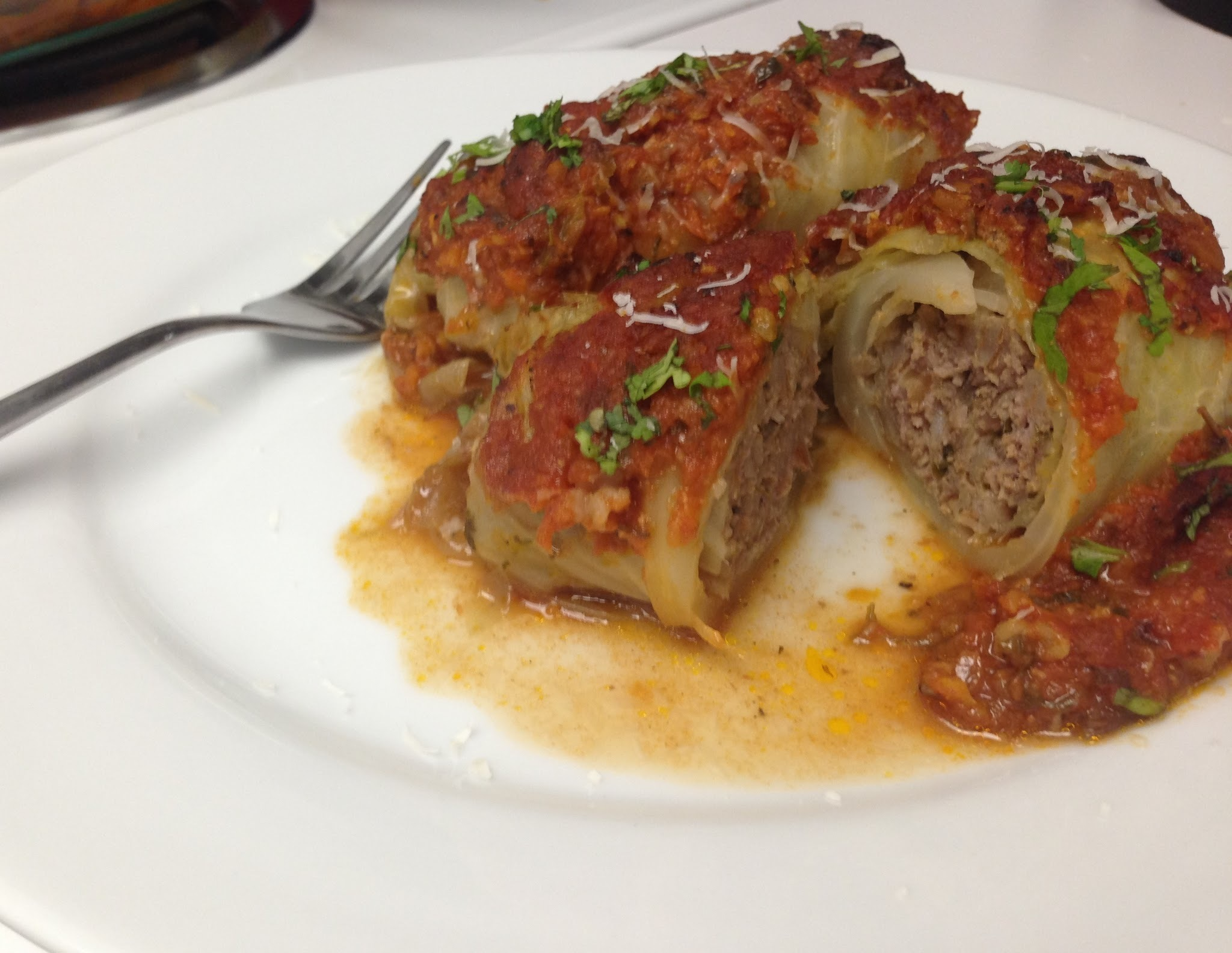 Ground turkey and Farro stuffed cabbage