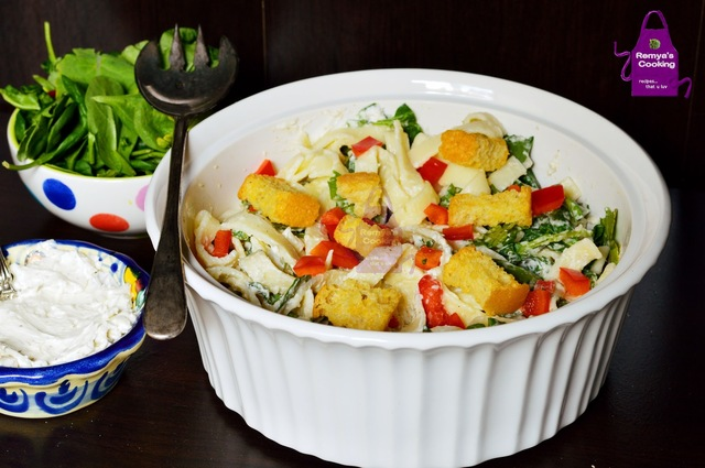 Pasta salad with Cream cheese dressing