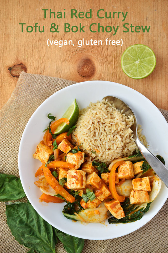 Vegan and Gluten-Free Thai Red Curry Tofu & Bok Choy Stew (with a Saffron Road giveaway)