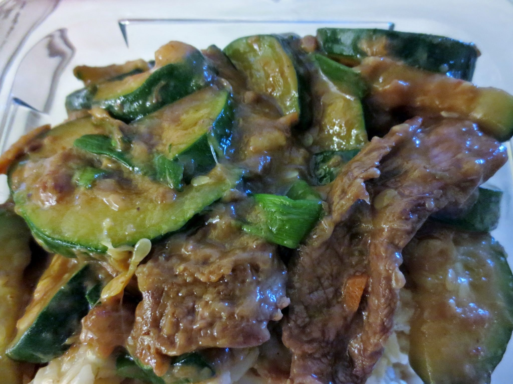 Stirfried Beef with Zucchini, Ginger and Scallions