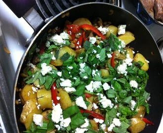 Hot Kipfler Potato, Capsicum, and Basil Salad (gluten free, vegetarian)