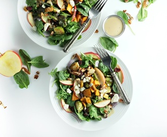Autumn Salad with Roasted Apples, Brussels Sprouts and Savory Maple Vinaigrette