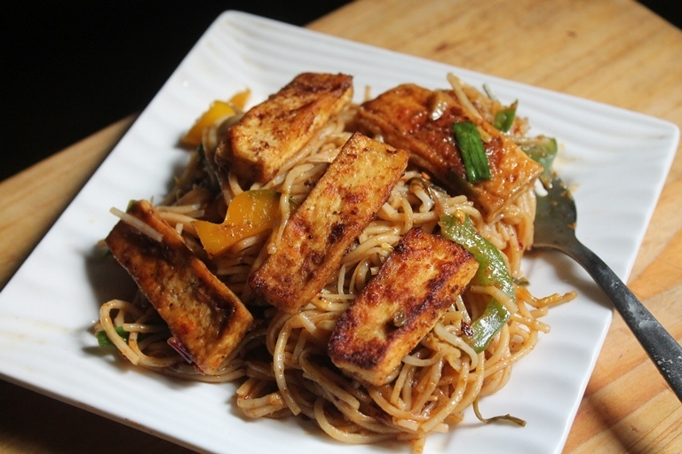 Thai Red Curry Noodles with Pan Fried Tofu Recipe
