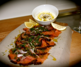 Smoked Salmon Carpaccio with Lemon Cream