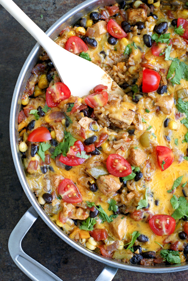 Mexican Chicken and Rice Skillet Casserole