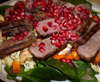 Lamb, pomegranate and roasted vegetables