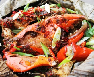 Steamed Crab Wrapped in Lotus Leaf with Chinese Black Bean Paste, Chilli, and Garlic Sauce Recipe