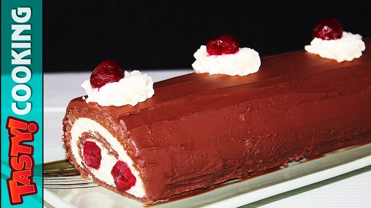 Black Forest Roll Cake Recipe 🍰 Tasty Cooking