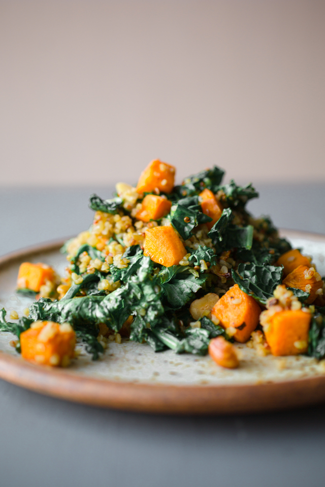 Warm Salad of Kale, Sweet Potato and Quinoa
