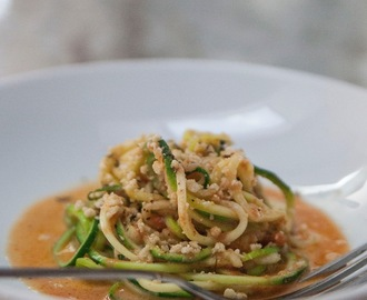 "The Raw And The Cooked. Zucchini, The ""Unpasta"" With a Spiced Indian Tomato Sauce."