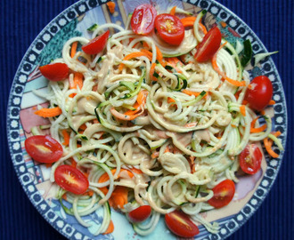 Zucchini noodles with a tahini lemon sauce