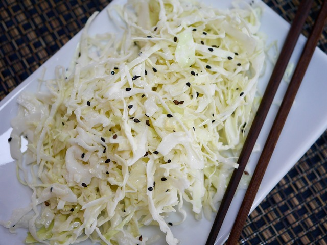 "Creamy Asian Cabbage Salad With Black Sesame Seeds Featuring ""Just Mayo"" From Beyond Eggs"