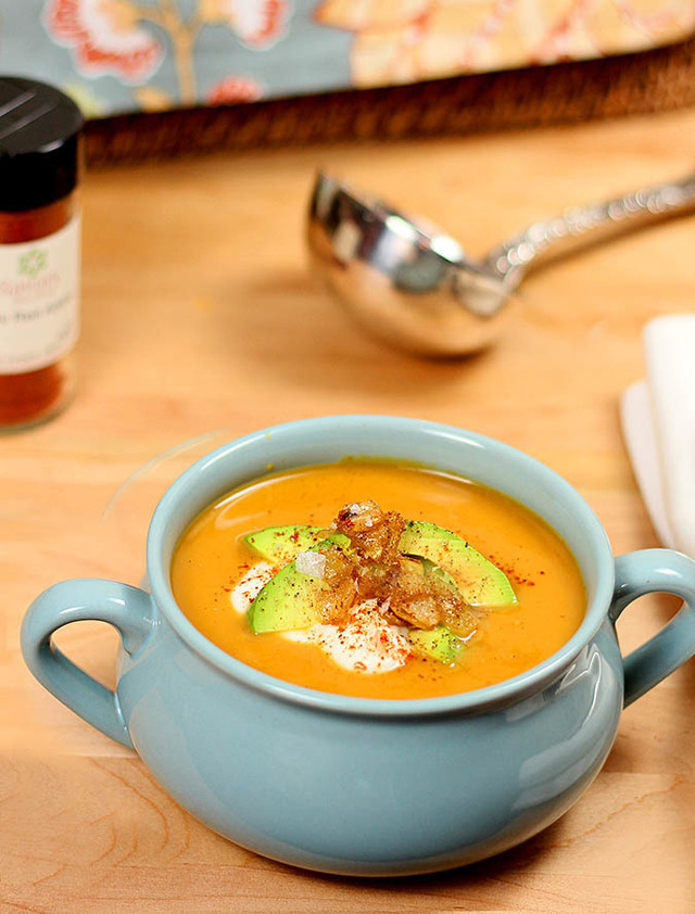 Slow Cooker Butternut Squash, Potato and Roasted Pepper Soup
