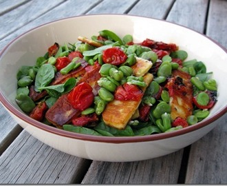 Roast Tomato & Broad Bean Salad with Haloumi