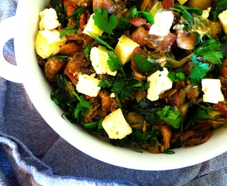 bacon, mushroom and leek salad with lemon zest