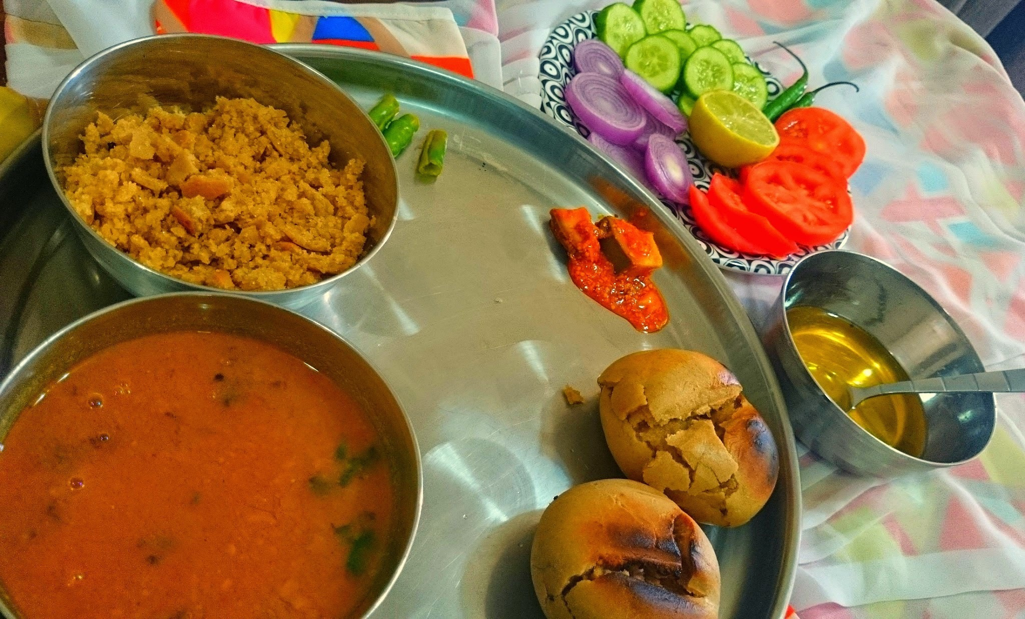 Traditional Daal Baati and Churma