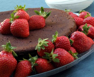 Chocolate Fudge Cake and Strawberries