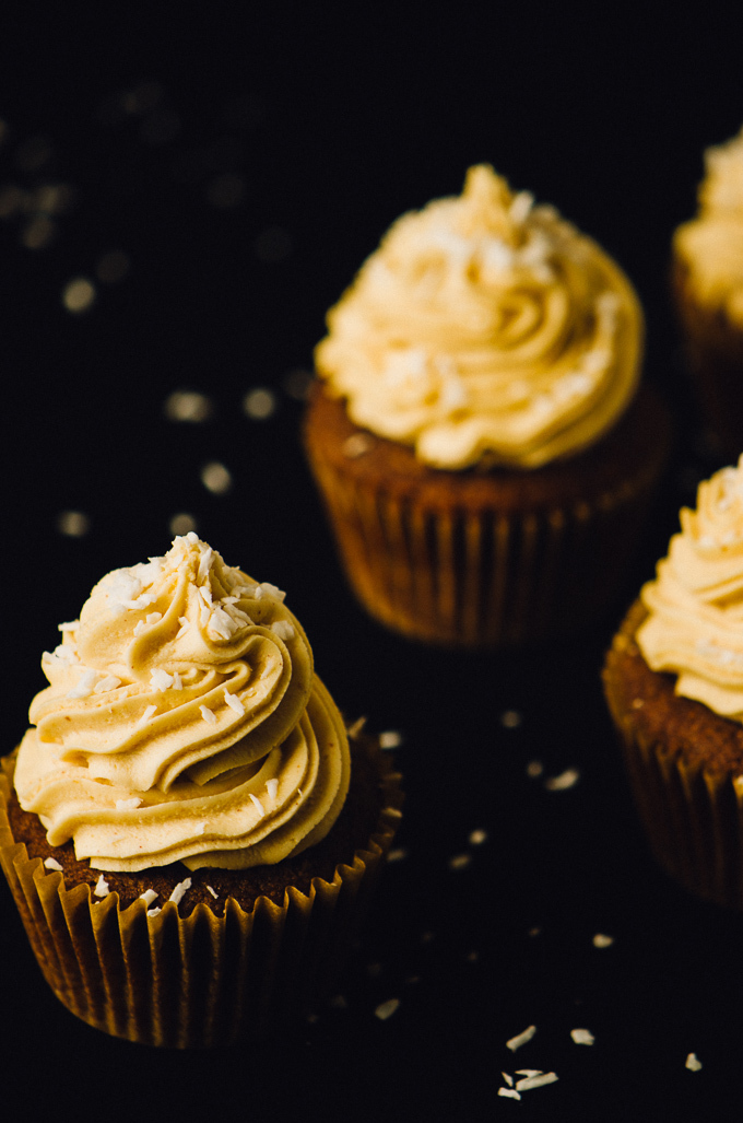 Nutella Cupcakes with Peanut Butter Coconut Frosting
